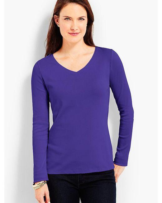 Talbots | Purple Pima Cotton Long-sleeve V-neck Tee-the Tee | Lyst