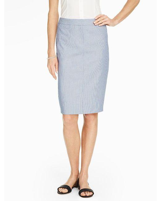 talbots delphi stripe pencil skirt in blue blue white