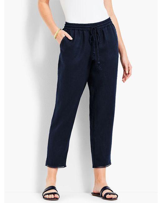 Talbots - Blue Drawstring Linen Straight-leg Crop - Lyst