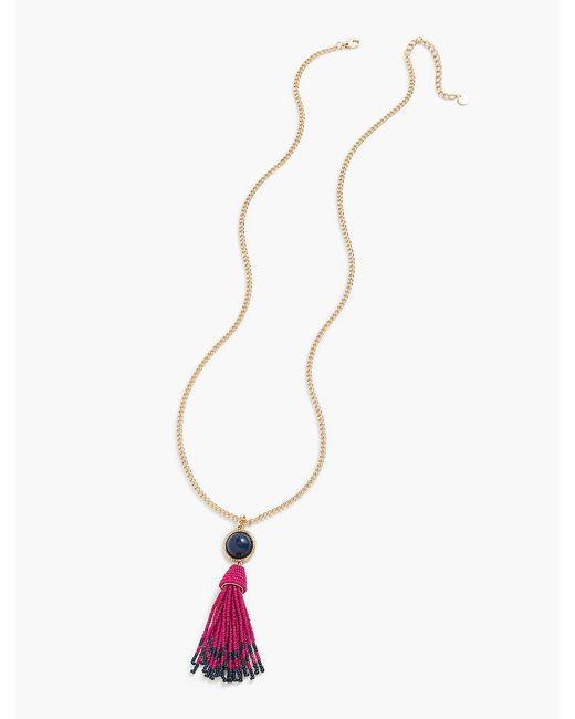Talbots | Metallic Cabochon & Seed-bead Tassel Necklace | Lyst