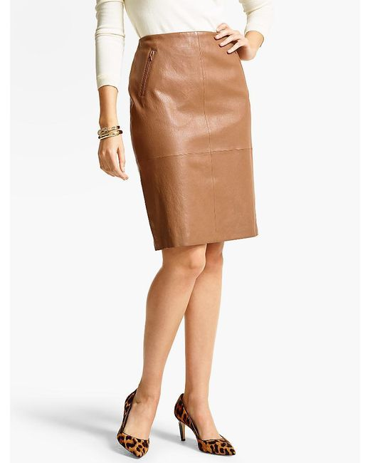 talbots stretch leather pencil skirt in brown lyst
