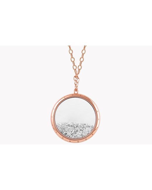 Tateossian | Metallic Diamond Dust Silver Necklace With Rose Gold Finish | Lyst
