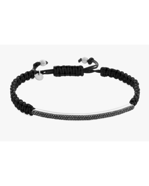 Tateossian | Micro Pavé Macramé Bracelet With Black Diamonds On A Silver Panel for Men | Lyst