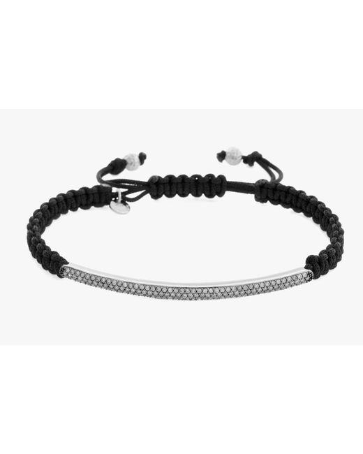 Tateossian | White Micro Pavé Macramé Bracelet With Black Diamonds On A Silver Panel | Lyst