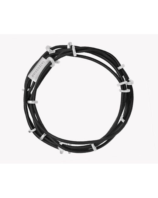 Tateossian | Black Capri Silver Friendship Bracelet | Lyst