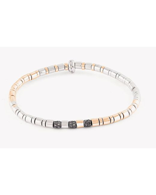 Tateossian | Metallic Bamboo Silver Bracelet With Brown Diamonds for Men | Lyst