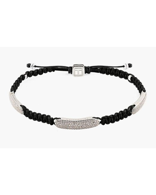 Tateossian - Metallic Macrame Triple Diamond Baton Silver Bracelet for Men - Lyst
