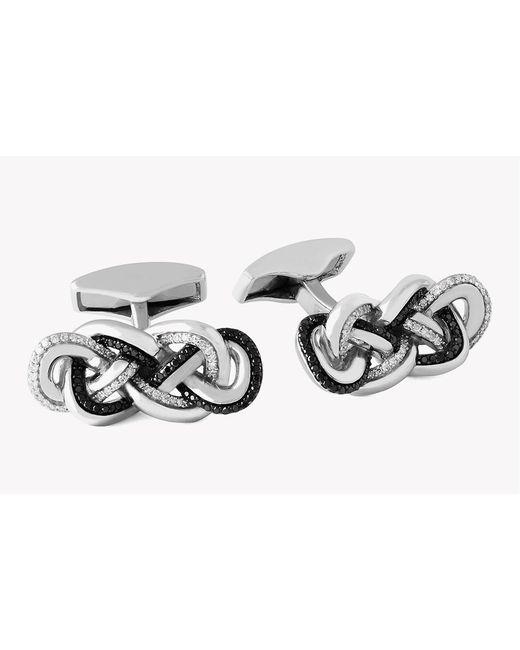 Tateossian - Metallic Black And White Diamond Eternity Knot Silver Cufflinks for Men - Lyst