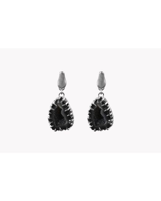 Tateossian | Metallic Geode Short Drop Silver Earrings In Grey | Lyst