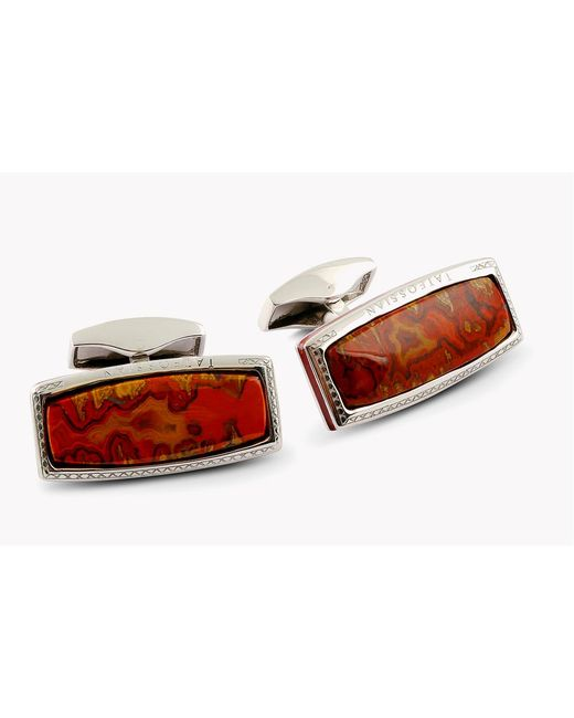 Tateossian - Red Stones Of The World - Rectangular Silver Moroccan Agate (limited Edition - 1 Pair) for Men - Lyst