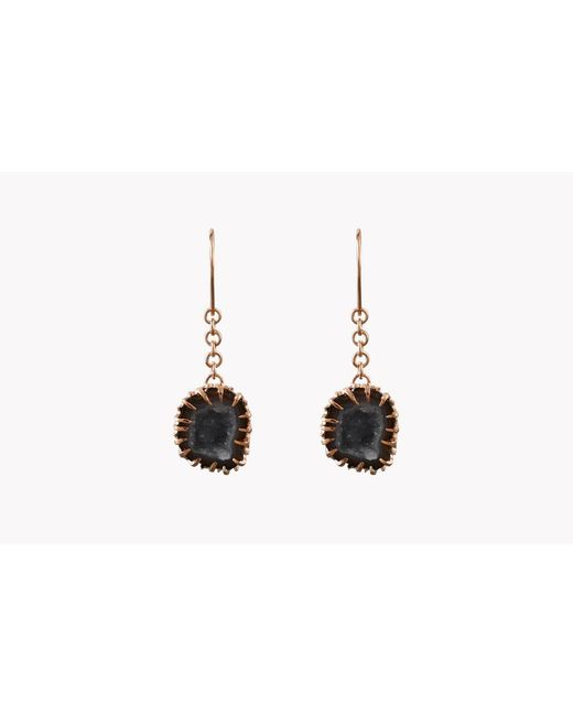 Tateossian | Metallic Geode Long Drop Silver Earrings In Grey | Lyst