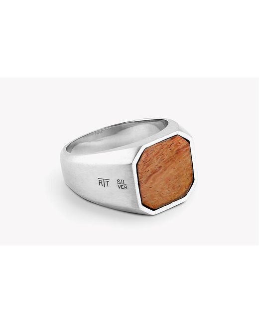 Tateossian - Brown Signet Silver Rings With Natural Wood for Men - Lyst