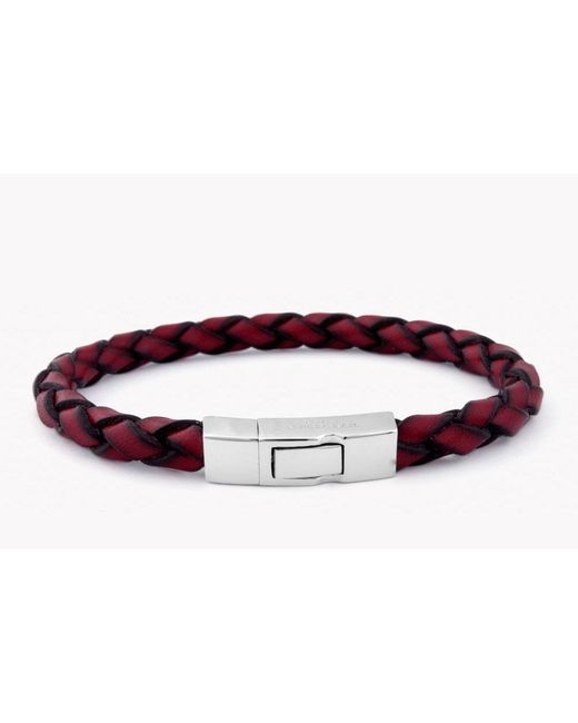 Tateossian - Single Wrap Scoubidou Red Leather Bracelet With Silver Clasp for Men - Lyst