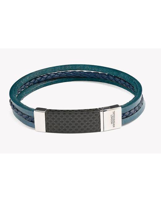 Tateossian | Blue Carbon Slide Silver Bracelet | Lyst