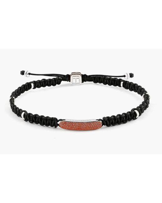 Tateossian - Black Macrame Diamond Baton Silver Bracelet for Men - Lyst