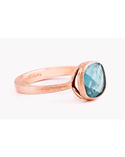 Tateossian - Pink 14k Rose Gold Belgravia Single Stone Ring With London Blue Topaz - Lyst