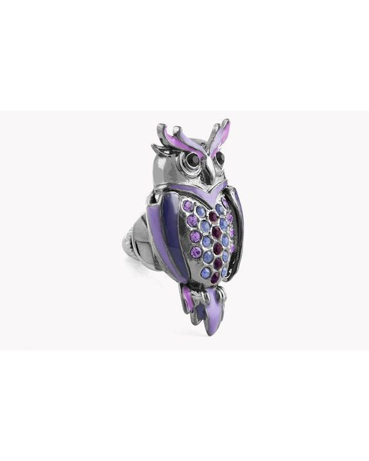 Tateossian - Multicolor Mechanical Owl Pin In Gunmetal Plating - Lyst