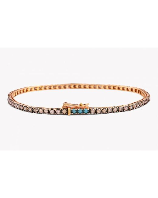 Tateossian | Brown Tennis Bracelet In Champagne And Blue Diamonds And 18k Rose Gold for Men | Lyst