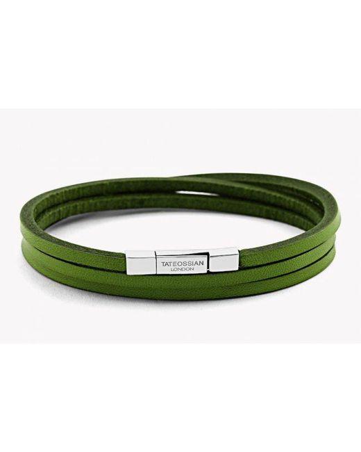 Tateossian | Triple Wrap Fettuccine Bracelet In Green Leather With Silver Clasp for Men | Lyst