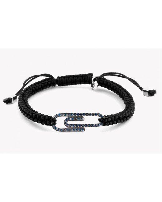 Tateossian   Paper Clip Micro Pavé Macramé Bracelet With Blue Diamonds for Men   Lyst