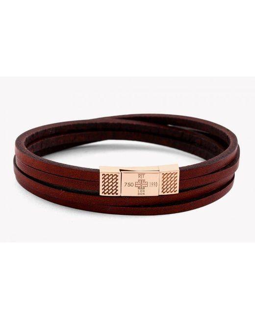 Tateossian | Fettuccine Duo 18k Rose Gold Bracelet In Brown for Men | Lyst