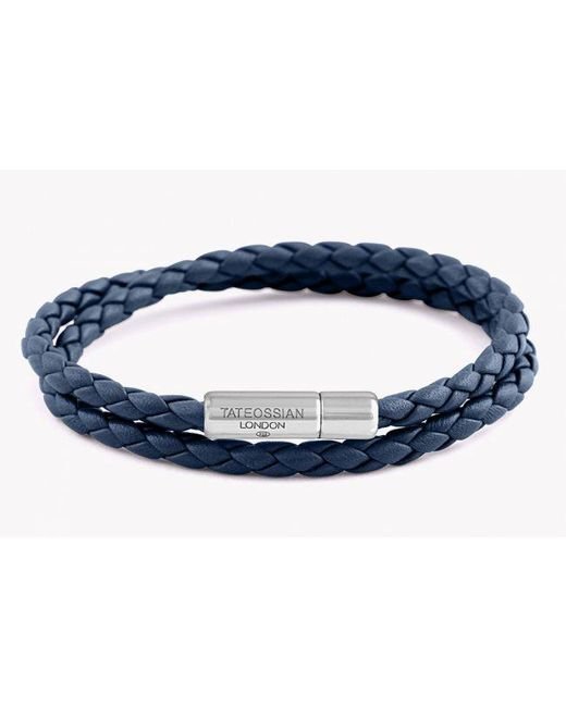 Tateossian | Blue Double Wrap Slim Pop Bracelet In Navy Leather With Silver Clasp for Men | Lyst