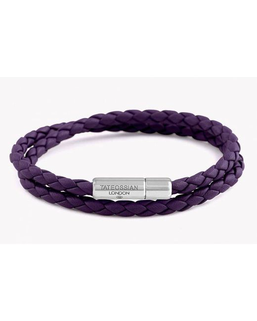 Tateossian | Double Wrap Slim Pop Bracelet Purple Leather With Silver Clasp for Men | Lyst