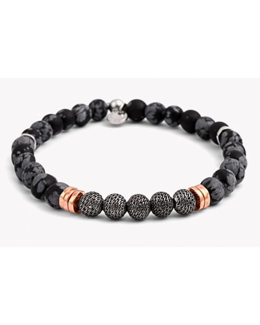 Tateossian | Black Stonehenge Silver Bracelet - Small Beads for Men | Lyst