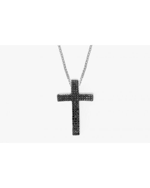 Tateossian | Precious Cross Micro Pavé Necklace In 18k White Gold With 105 0.35ct Black Diamonds for Men | Lyst