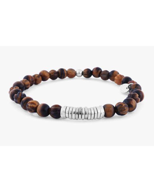 Tateossian - Brown Disc Round Beaded Bracelet for Men - Lyst