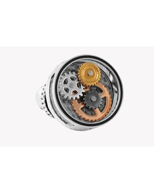 Tateossian - Metallic Carbon Fibre Gear Pin In Rhodium Plating for Men - Lyst