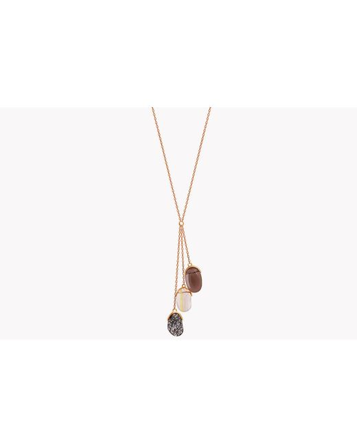 Tateossian - Metallic 18k Rose Gold Mayfair Three Quartz Stones Necklace for Men - Lyst