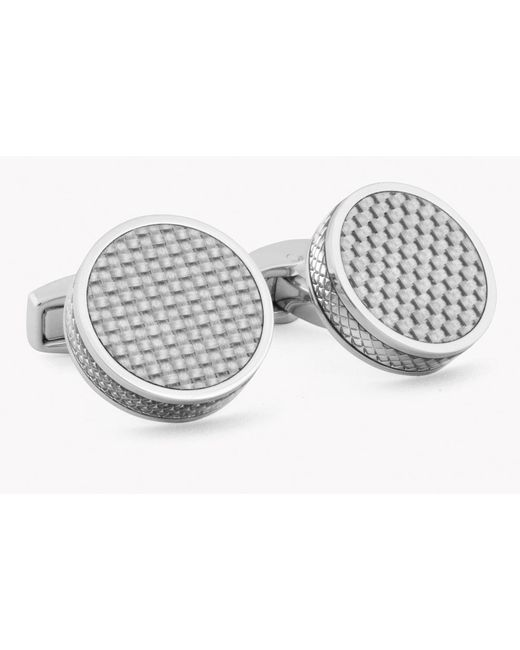 Tateossian - Gray Tablet Cufflinks With Grey Carbon Fibre for Men - Lyst