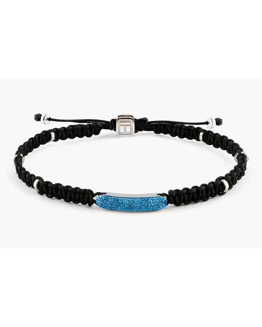 Tateossian - Blue Macrame Diamond Baton Silver Bracelet for Men - Lyst