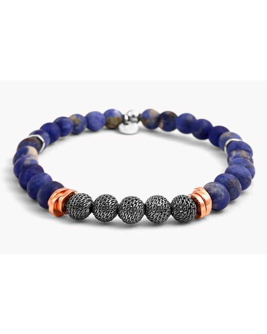 Tateossian | Blue Stonehenge Silver Bracelet - Small Beads for Men | Lyst