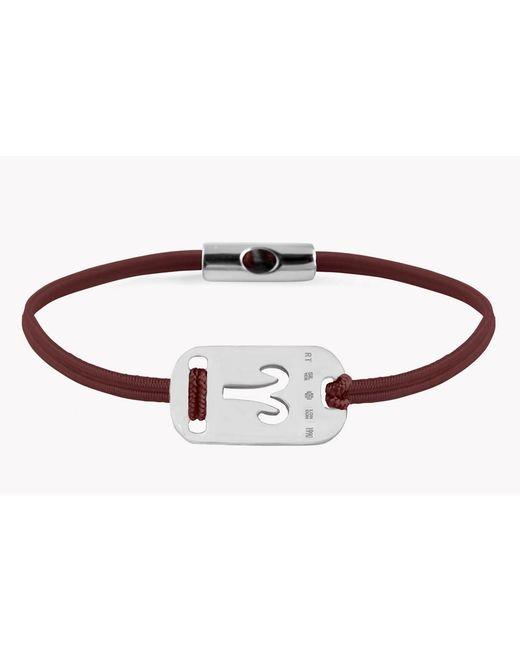 Tateossian - Metallic Zodiac Silver Aries Bordeaux Bracelet for Men - Lyst