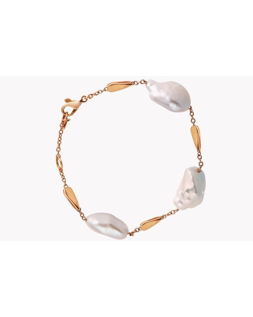 Tateossian - Metallic 18k Rose Gold South Sea Baroque Pearl Drop Bracelet With 3 Pearls - Lyst