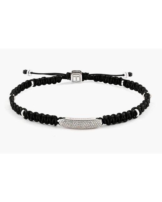 Tateossian - White Macrame Diamond Baton Silver Bracelet for Men - Lyst