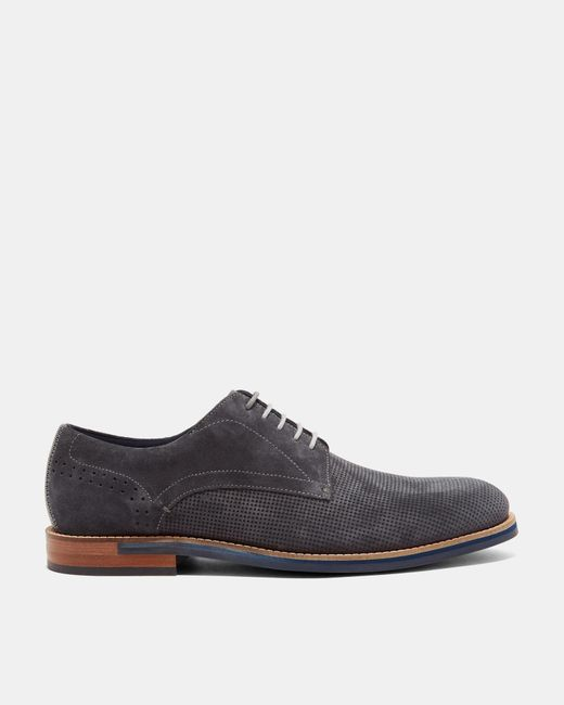 Ted Baker - Gray Perforated Suede Derby Shoes for Men - Lyst