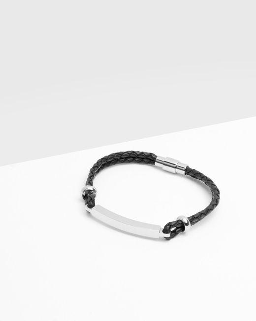 Ted Baker   Black Bar Detail Leather Bracelet for Men   Lyst