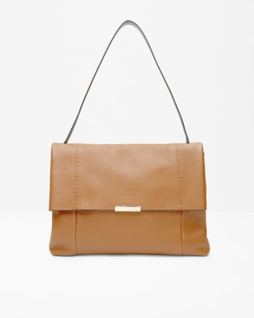 Ted Baker | Brown Textured Leather Shoulder Bag | Lyst
