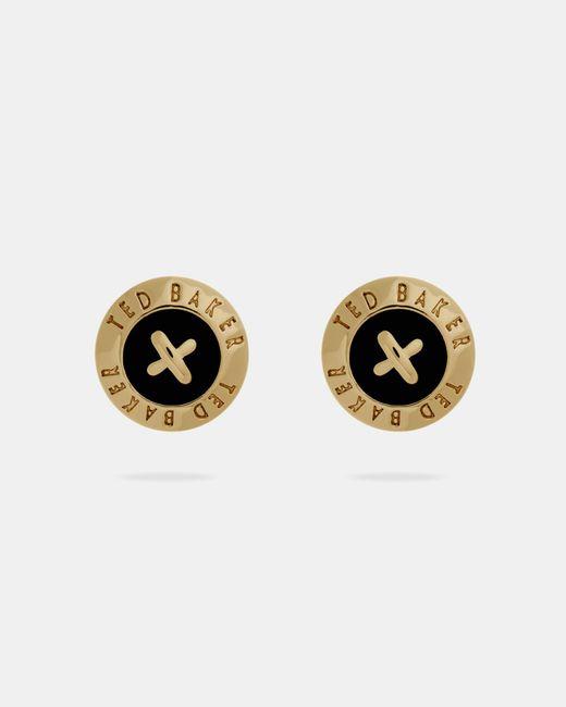 Ted Baker   Black Enamel Button Stud Earrings   Lyst