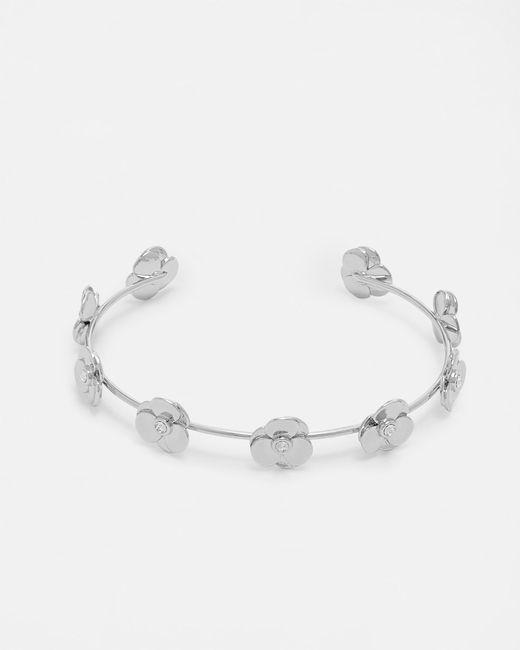 Ted Baker | Metallic Pressed Flower Swarovski® Crystal Cuff | Lyst