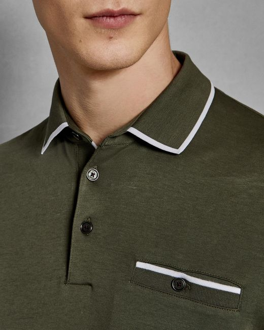 Ted Baker - Green Flat Knit Collar Cotton Polo Shirt for Men - Lyst