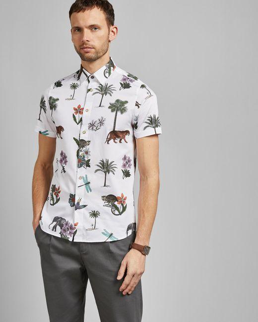 3c3b61248b92 Ted Baker - White Short Sleeved Jungle Print Cotton Shirt for Men - Lyst ...