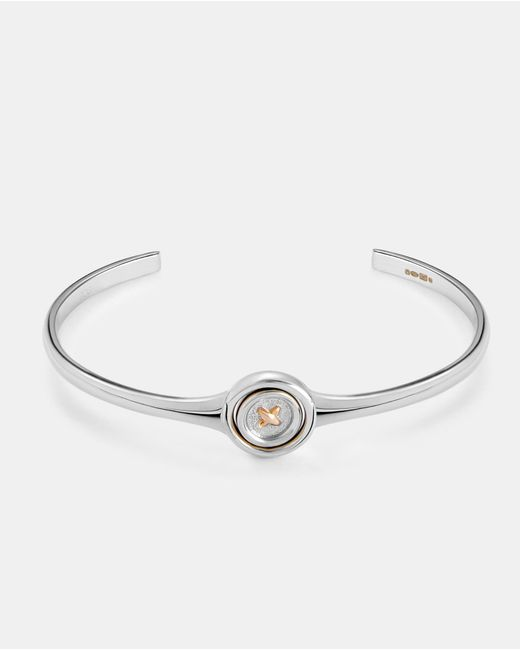 Ted Baker - Metallic Spinning Button Sterling Silver Bangle - Lyst