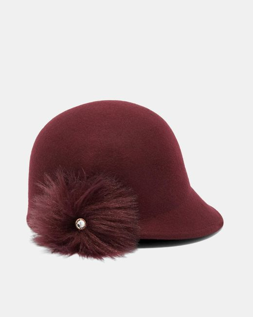 Ted Baker | Red Faux Fur Pom-pom Hat | Lyst
