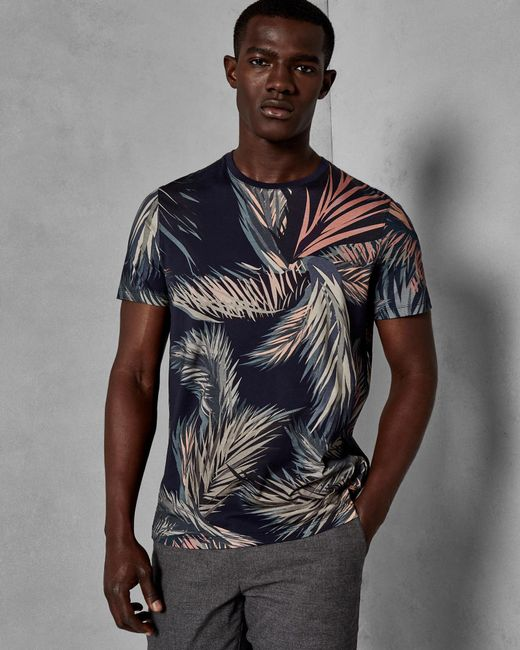 Ted Baker - Blue Leaf Print Cotton T-shirt for Men - Lyst