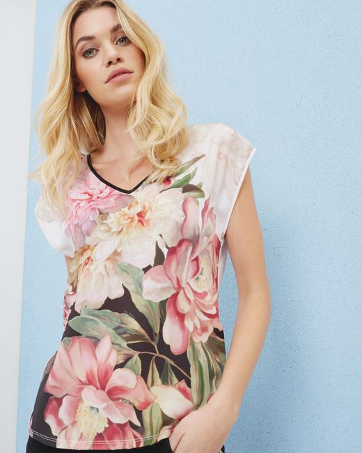 Ted Baker - Multicolor Painted Posie Woven T-shirt - Lyst