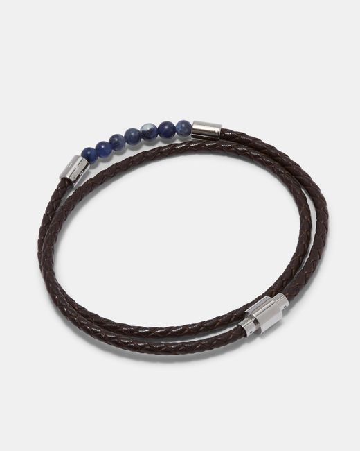 Ted Baker - Brown Beaded Leather Double Wrap Bracelet for Men - Lyst